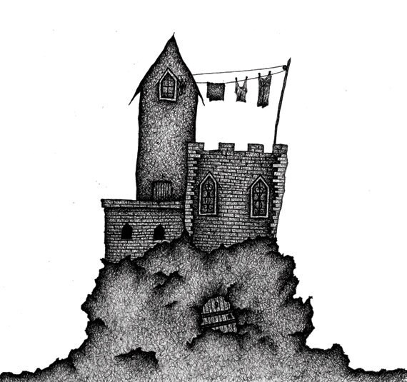 """Castles & Clotheslines - 8"""" x 10"""" Mounted Print"""