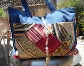Denim Purse with purse fob