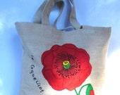 Summer spring fashion Jute tote bag / floral Handmade  felt / applique / shopper / all to carry / single red poppy/spring bag / unique