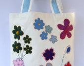 SALES Early XMAS sale Spring Summer tote / Canvas white appliqued handmade colorful felt  flowers/shopper/carry all/floral