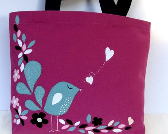 Canvas dark pink tote bag,appliqued with a little blue bird, stylish handmade, for everyday use