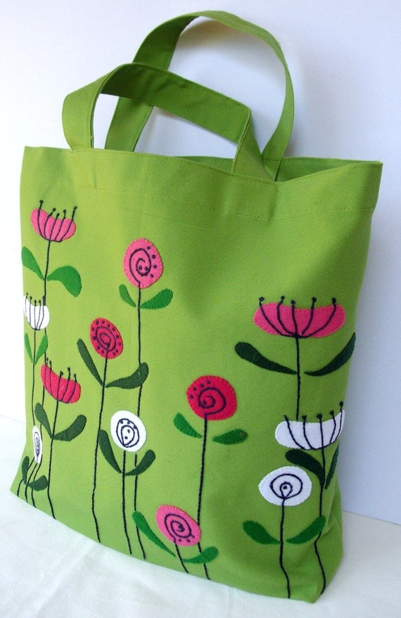 Spring flowers on green canvas, handmade tote bag, hand applique, carry all, eco friendly, unique handbag