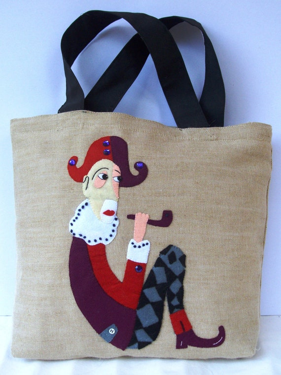 Tote bag /Handmade appliqued with felt  and embroidered  Eco friendly unique / shopper / all to carry / Arlequine