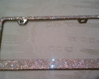 7 Rows Swarovski Crystal AB License Plate Frame