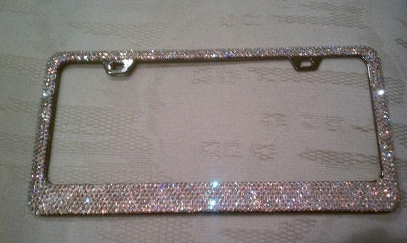 6 Rows Swarovski Crystal Ab License Plate Frame