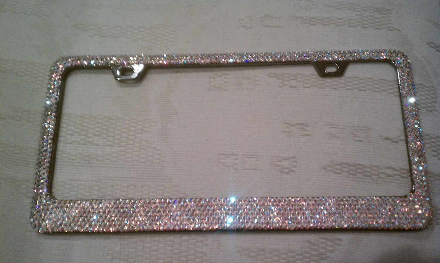 swarovski crystal ab license plate frame zoom