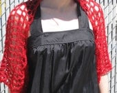 The Lucky Shrug - Lightweight red mohair wool and sequins shrug
