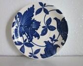 Vintage Cobalt Blue and White Floral Homer Laughlin Saucer