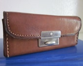 Small English Leather Cowhide Box with Silver Clasp