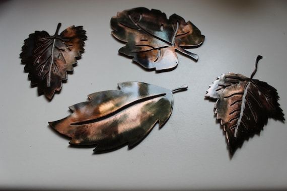Metal Wall Art LEAVES 4 Small Set Copper By