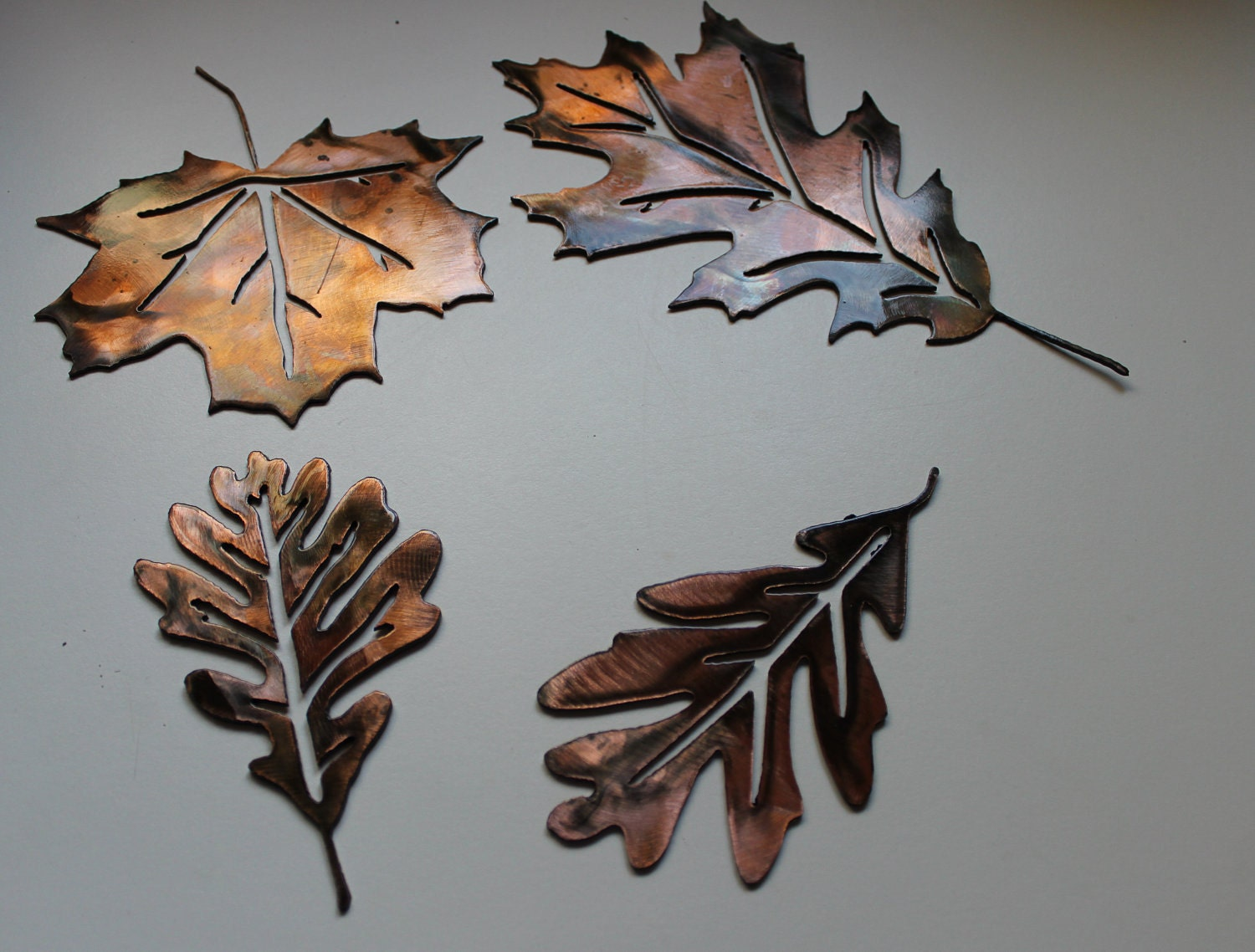 metal wall art leaves set of 4 by heavensgatemetalwork on etsy. Black Bedroom Furniture Sets. Home Design Ideas