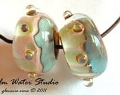 Calm Water Studio Lampwork Earring Bead Pair in Soft Blue and Cream    SRA