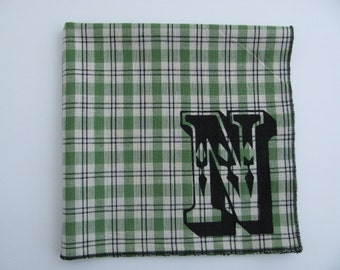 SALE - Super soft discontinued GREEN cotton INITIAL hanky with the letter N only - last one