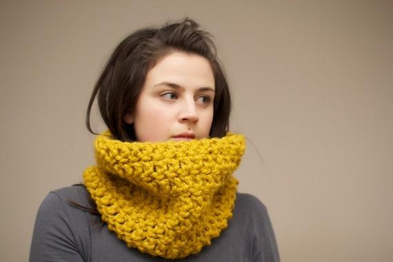 Chunky Crochet Cowl Snood in Mustard Yellow