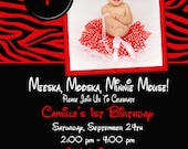 Birthday Invitation - Zebra Minnie Mouse or Mickey Mouse