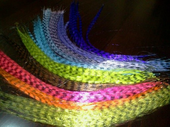 80 Grizzly synthetic feather hair Extensions with Beads. Free Shipping