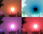 Set of 4 SURREAL SUN Digital Photographic Art Prints Home Decor Baby's Nursery or Children's Room Red Teal Purple Bronze by K Graham