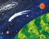 "Space Art Original Miniature ACEO Painting ""GREEN WORLD""  by K Graham - Green World Blue Nebula Orange & Red Moons Comet Galaxy Stars"