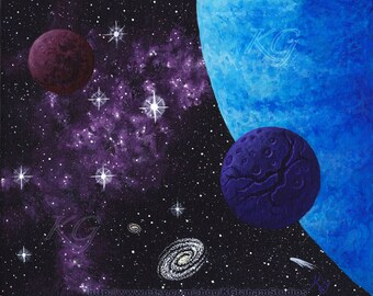 "Space Art Print ""Purple Nebula - Blue World"" 8x10 Photographic Print of an Original Spacescape Painting by K Graham Stars Planet Moon Galaxy"