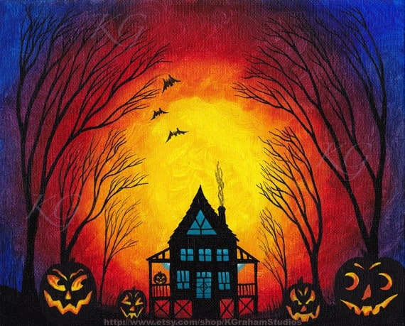 "Halloween  ""Haunted House in the Woods"" 8X10 Art print by K Graham Spooky Trees Lighted Jackolanterns Bats Red Blue Yellow"