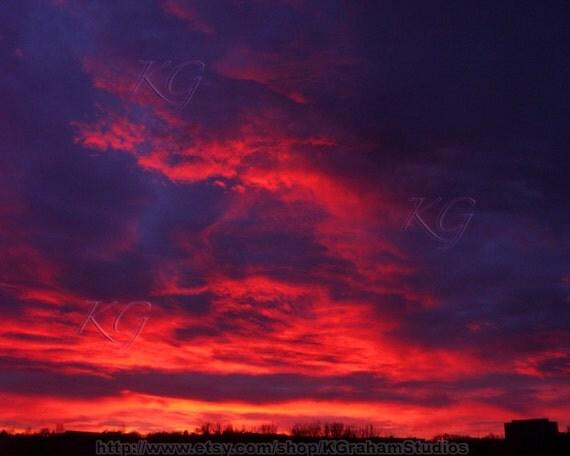 SUNRISE on FIRE Vivid Colorado Landscape Art Photo 8x10  Print by K. Graham Fiery Red Orange and Pink Clouds Fill a Dark Blue - Purple Sky