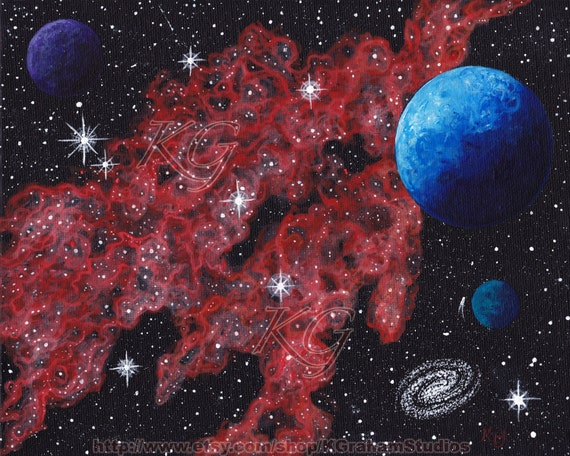 "Space Art Original Painting ""Blue World - Red Nebula"" 8x10  Cosmic Space-scape by K Graham Galaxy Comet Stars Planets Moons"
