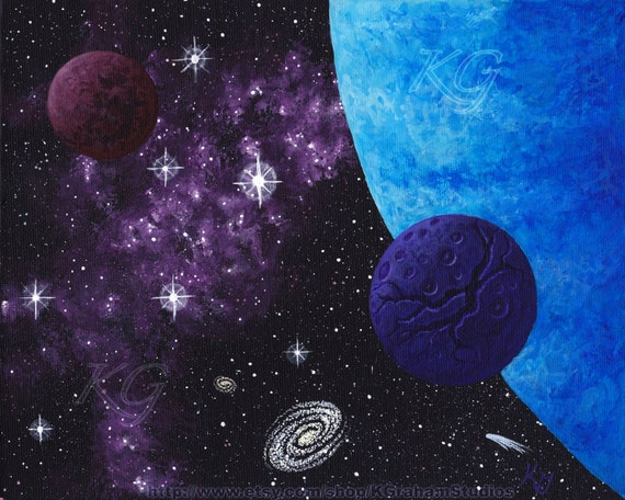 "Space Art Original Painting ""Blue World - Purple Nebula"" 8x10  Cosmic Space-scape by K Graham Galaxy Comet Stars Planets Moons"