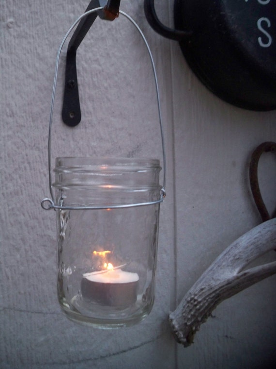 Custom listing for Kathleen - 4 - pack of mason jar  lanterns and 24 citronella tea light candles, PLUS 4 additional hangers