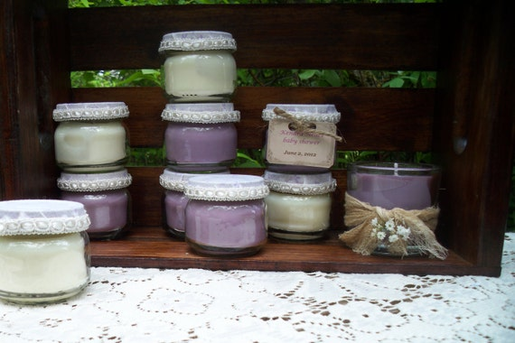 Custom order for Clarissa - 50 Baby Shower favors- baby food jar soy candles,