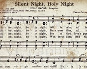 Silent Night Christmas Sheet Music Christian Hymn Hymnal Digital Download Image Vintage Clipart Scan U Print Graphic vs0082