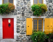 Fine art photography  Quebec City street scene travel photography, Euro style architecture, red door, red and yellow