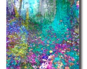 Enchanted Forest  floral art flower photograph wall art home office decor colorful bright blue and purple