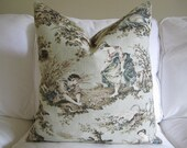 Toile Pillow Cover 20 x 20 Cream Blue and Taupe Flax Linen Back