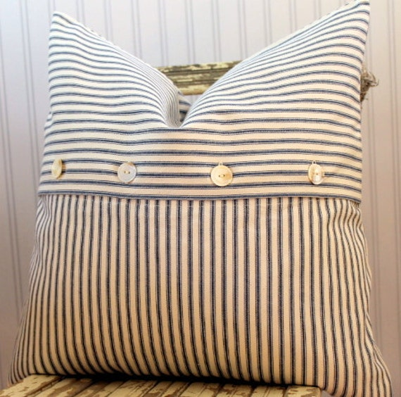 Blue Ticking Pillow Cover 20 x 20 Vintage button closure