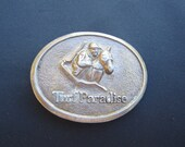 Oval Turf Paradise Brass Belt Buckle