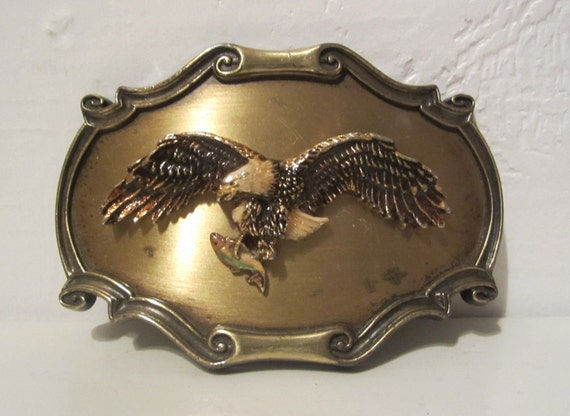 Bald eagle with Caught Fish Belt Buckle Brass plate with enamel by Raintree 1980
