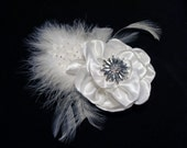 Vintage inspired handmade bridal flower hair clip