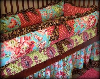 Baby Bedding Crib, Girl Bedding, Aqua, Floral Baby Bedding