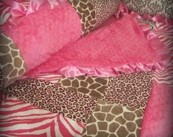 Baby Bedding Pink and Brown Animal Print Crib Set