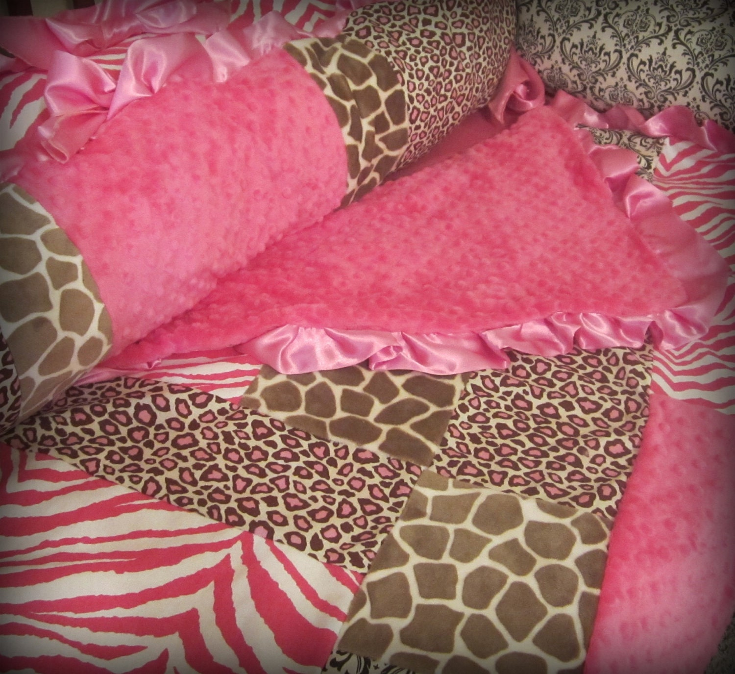 Baby Bedding Pink and Brown Animal Print Crib Set by Ziggetyzag