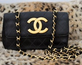 Vintage AUTHENTIC Chanel Satin Gold Chain Bag Clutch