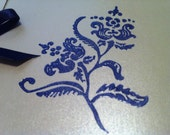 Blank Silver Card with a Blue Floral Design