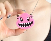Cupcake - Pink Laser Cut Acrylic Monster Necklace