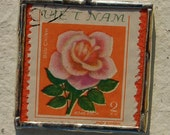 Postage Stamp Pendant : Rose and Goat