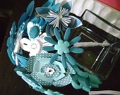 Handmade Wedding Bouquet- Colorful Blues, Paper, Fabric, & Chip Board flower