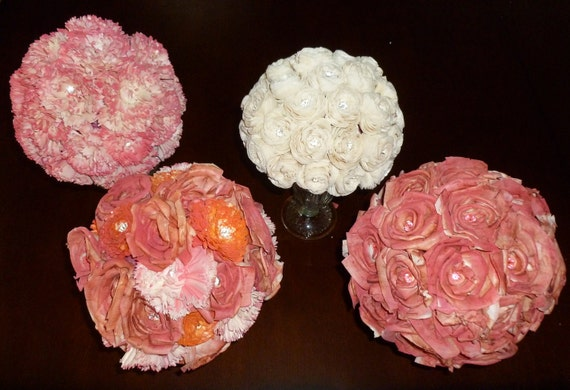 Custom Flower Ball Centerpieces Large- Kissing Ball, Pomander, Sola Flowers, Handmade Wedding, Centerpiece, Party