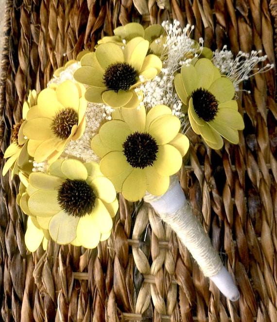 Yellow Wildflower Bouquet Medium- Bridal Bouquet, Handmade Bouquet, Shabby Chic Bouquet, Woodland Wedding