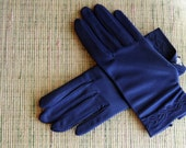 Navy Embroided Gloves