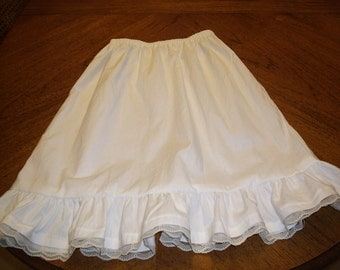 Girls White half slip / petticoat with ruffle,  girls sizes 3-8. Made to order for you.