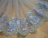 Lace trim Gray Mesh Blue Purple Floral Lace Embroidered Lace Rosette Wedding Dress DIY Handmade Accessory 7.87 inches wide 1.4 yards A0746